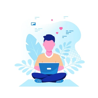 Young caucasian man sitting on the floor and working on laptop . freelance, remote working, online studying, work from home. flat style vector illustration.