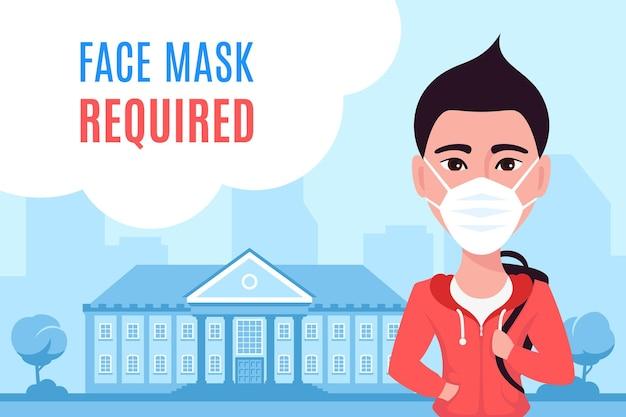 Молодой кавказский человек в маске для лица и стоит перед зданием университета или колледжа. плоский стиль иллюстрации