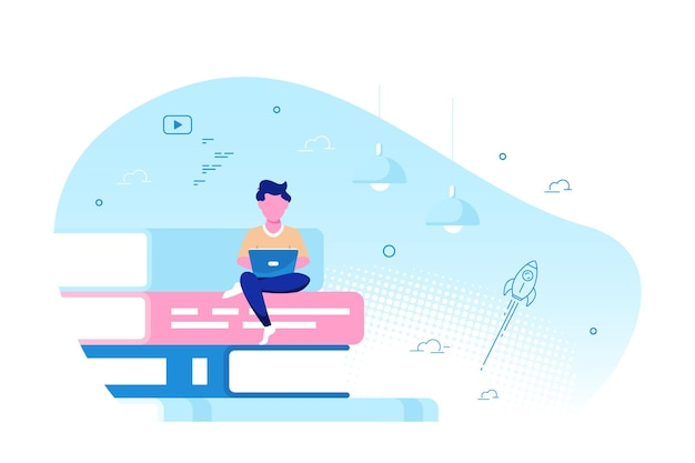 Young caucasian man with laptop sitting on big book stack. online education concept, remote studying concept. flat style vector illustration.