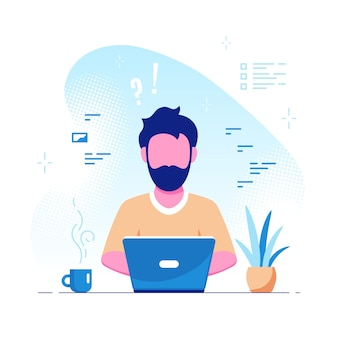 Young caucasian man working on laptop. freelance, remote working, online studying, work from home concept. flat style vector illustration.