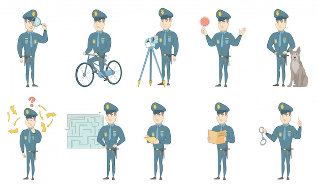 Young caucasian policeman vector illustrations set