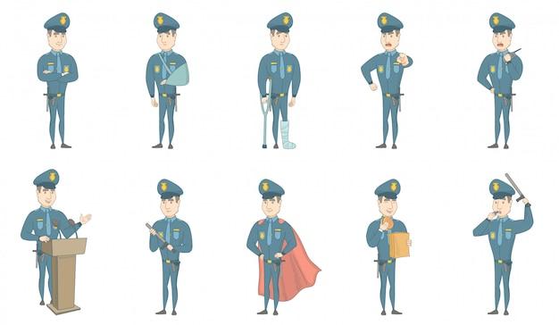 Young caucasian policeman vector illustrations set