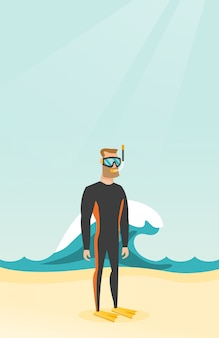 Young caucasian scuba diver in diving suit.