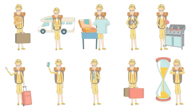 Young caucasian traveler character set