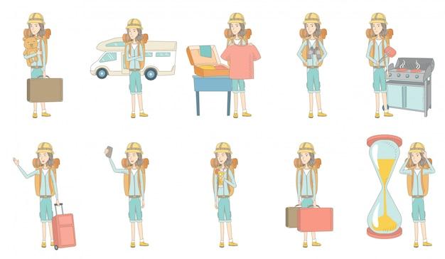 Young caucasian traveler character set