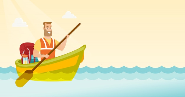 Young caucasian white man riding a kayak.