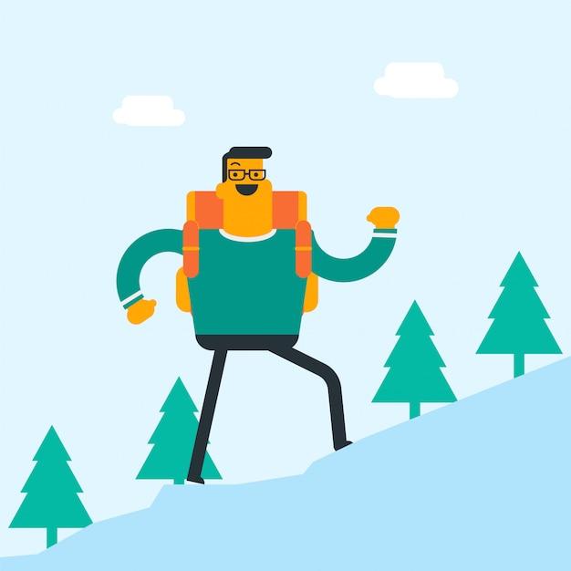 バックパックのハイキングを持つ若い白人白人男性。