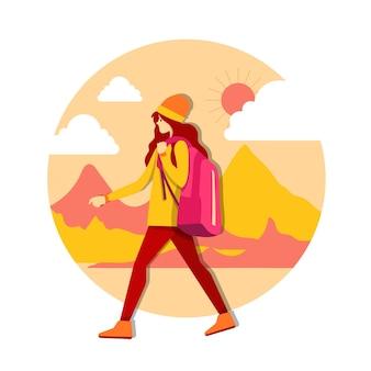 Молодая девушка кавказского белого путешественника с рюкзаком. девушка путешественника гуляет. векторные иллюстрации шаржа.
