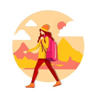 Young caucasian white traveler young girl with a backpack. traveler girl walking. vector cartoon illustration.