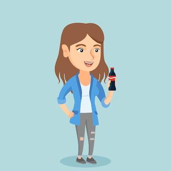 Young caucasian woman drinking soda.