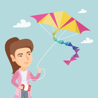 Young caucasian woman flying kite.