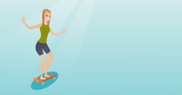 Young caucasian woman riding skateboard.