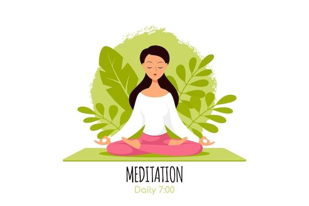 植物の葉と蓮華座に座っている若い白人女性。ヨガと瞑想、レクリエーション、健康的なライフスタイルの実践。