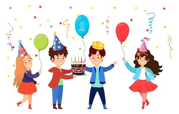 誕生日パーティーを祝う若いキャラクターの子供たち
