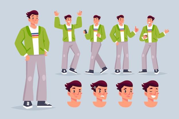 Молодой персонаж позирует иллюстрации