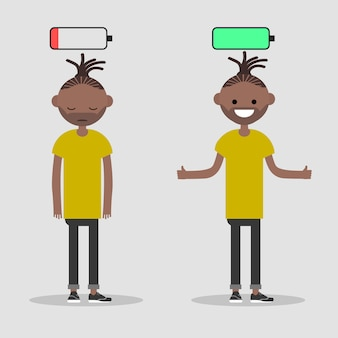 Young character in two versions tired and active with battery icon