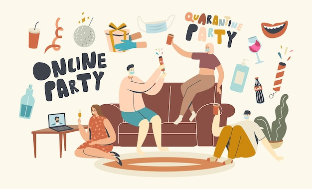 Young characters in masks holding glasses with champagne celebrate holiday drinking alcohol cocktails and communicating online. birthday home party or festive event. linear people vector illustration