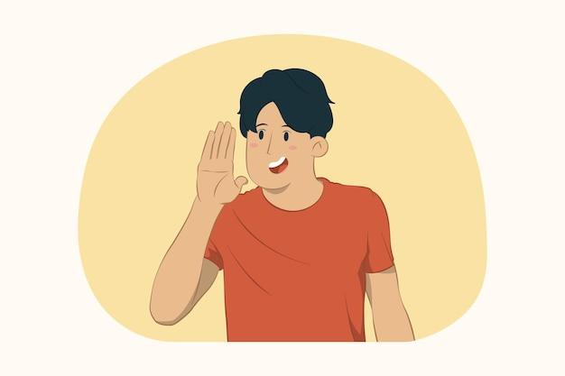 Молодой веселый человек кричит с концепцией жеста руки