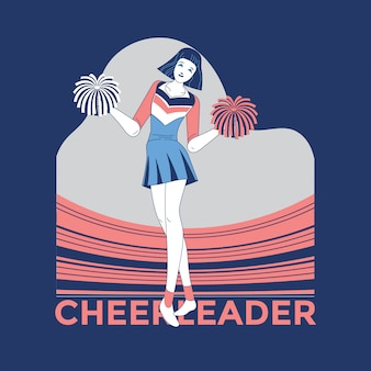 Young cheerleader in blue and white suit with pompoms on stadium background illustration  premium