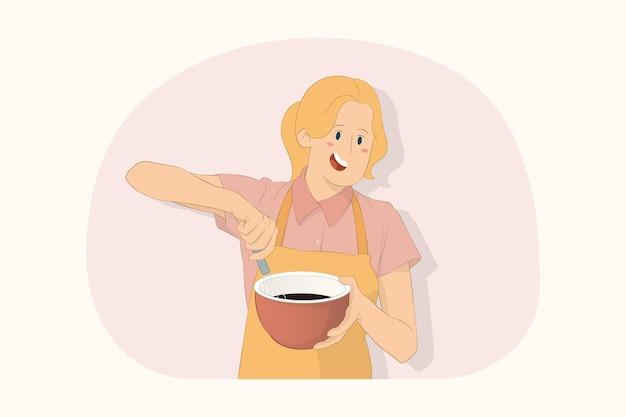 젊은 요리사 요리사 제빵사 여자 치고 초콜릿 개념