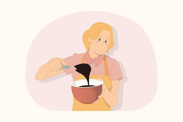 젊은 요리사 요리사 제빵사 여자 요리 식품 공정 개념