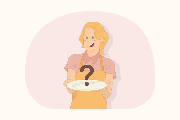 젊은 요리사 요리사 제빵사는 흰색 빈 접시를 앞에 둡니다.