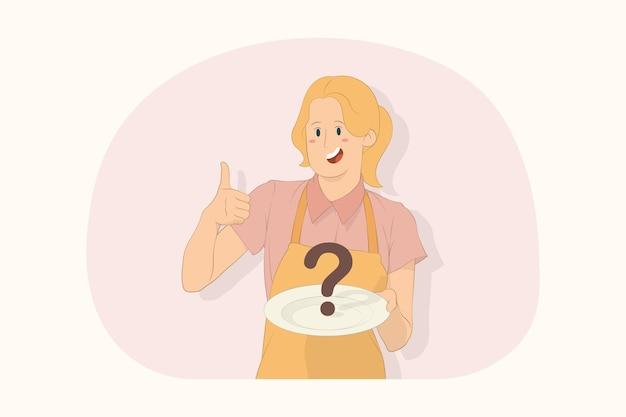 젊은 요리사 요리사 제빵사는 흰색 빈 접시를 들고 엄지손가락 제스처 개념을 보여줍니다.