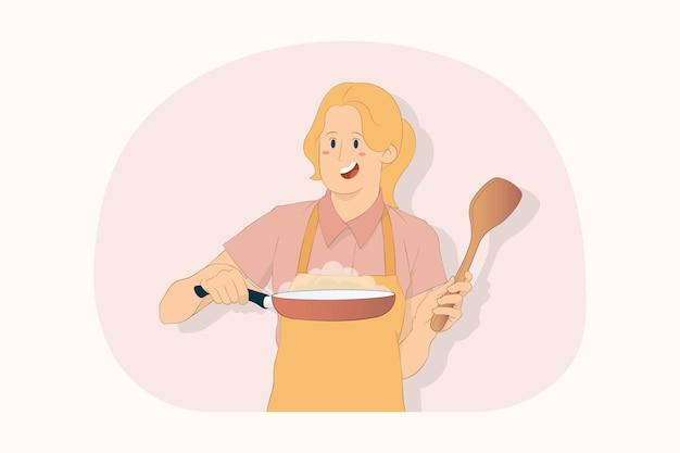 젊은 요리사 요리사 제빵사 여자 쇼 빨간 프라이팬 주걱 개념 개최