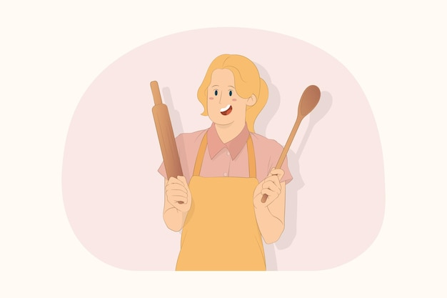 Молодой шеф-повар пекарь женщина держит деревянную ложку скалкой концепции