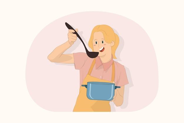 국자로 수프 스테인리스 냄비를 들고 젊은 요리사 요리사 제빵사 맛 개념을 시도