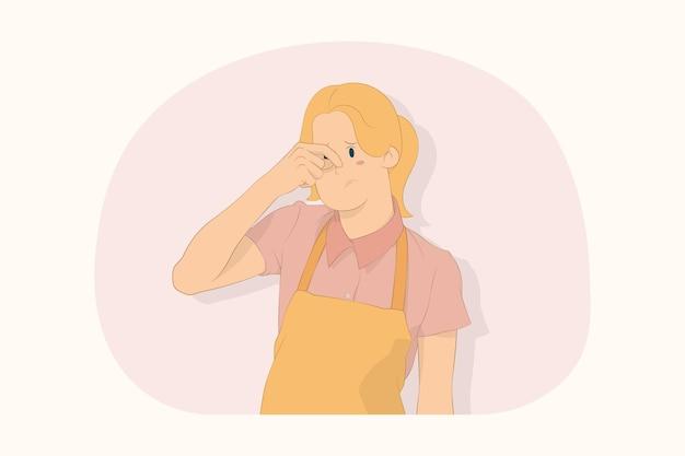젊은 요리사 요리사 제빵사 여자 문지름 코 개념에 손을 넣어
