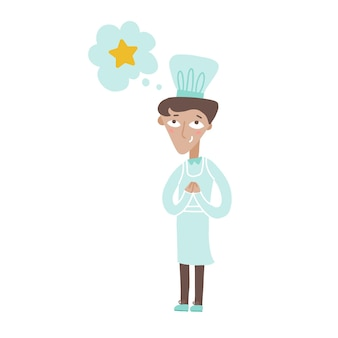 Young chef cook dreamong about star award and smiling restaurant chief in white uniform flat vector