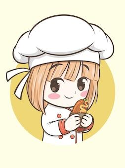 Молодой повар держит хот-дог