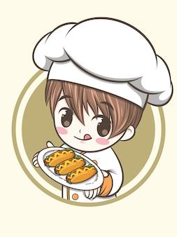 Молодой повар держит хот-доги