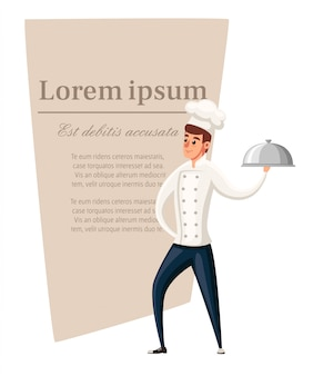 Young chef.   illustration on white background. cartoon character . smiling man, chef holding silver platter. place for text on brown area.