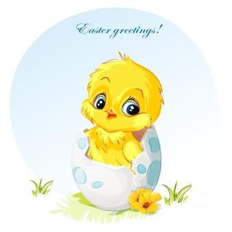 Молодой цыпленок в яйце