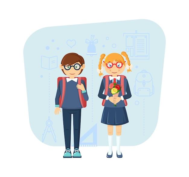 Пара маленьких детей, мальчик и девочка несут рюкзак, идут в школу.
