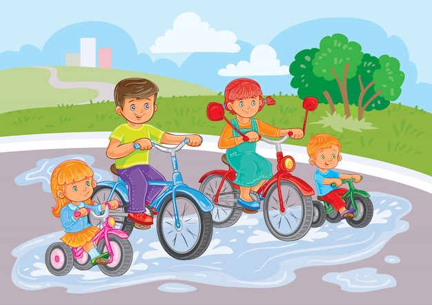 Young children ride bicycles in park
