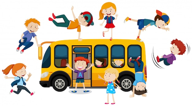 Young children and school bus