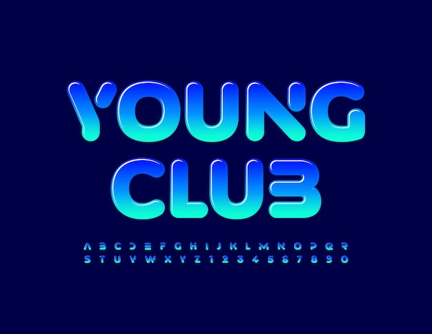 Young club blue gradient font glossy set of alphabet letters and numbers