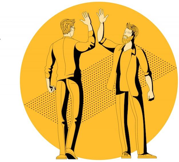 Молодые коллеги люди дают пять