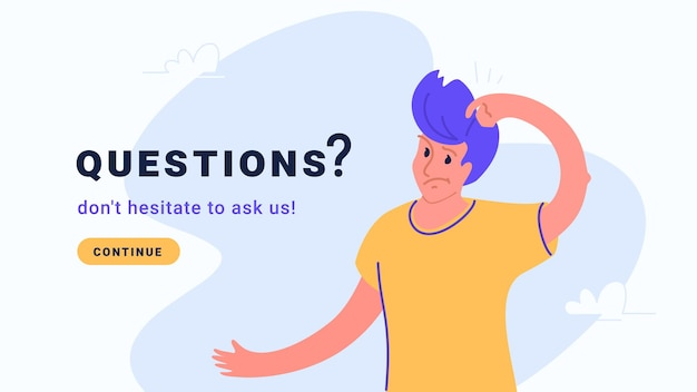 Young confused man has guestion or some doubts vector illustration of people need professional faq