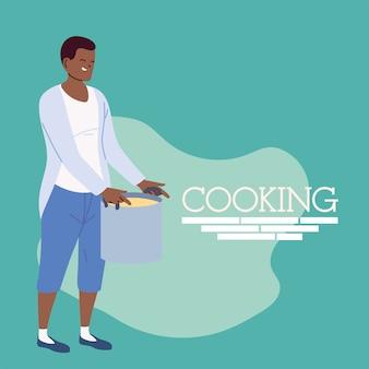 녹색 일러스트 디자인에 큰 냄비와 젊은 요리사 남자