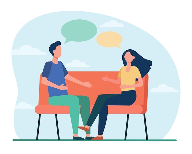 家で議論している若いカップル。ソファに座ってフラットなイラストを話している男性と女性