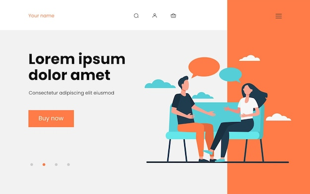Young couple arguing at home landing page template