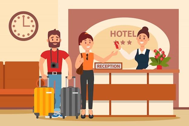 ホテルのフロントで若いカップル。机の後ろに立って、カードキーで手を伸ばす店員。ロビーのインテリア。フラットなデザイン