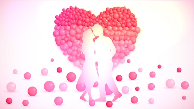Young couple and balloons created heartshape on background.
