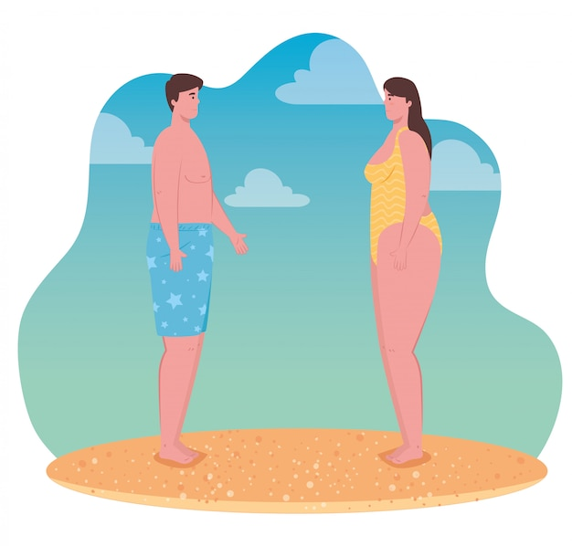 Young couple on the beach, guy and his girlfriend in the beach, summer vacation season