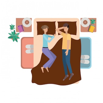 Young couple in bed avatar character