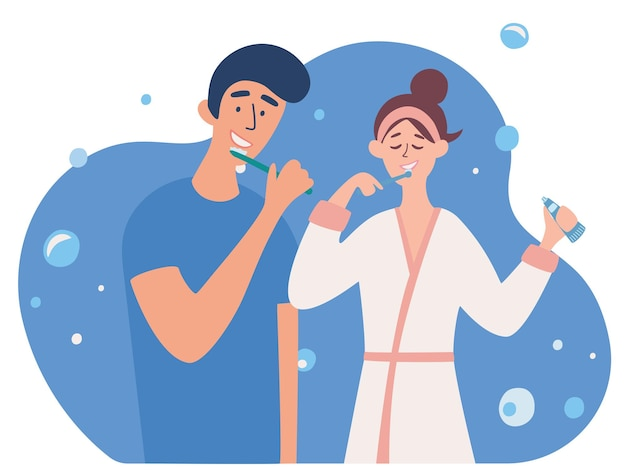 Young couple brushing teeth together. boyfriend and girlfriend in bathroom together. morning routine, taking care of dental health. everyday hygienic procedure. vector illustration in a flat style
